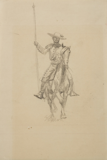 Untitled (Vaquero with spear on horse)