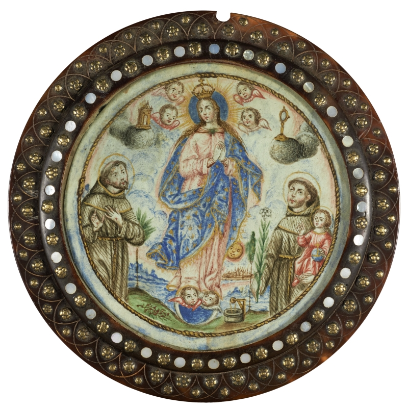 The Immaculate Conception with St. Anthony of Padua and St. Francis of Assisi (nun's badge)