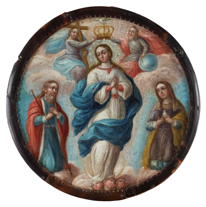 Coronation of the Virgin with Saints Anne and Joachim (nun's badge)