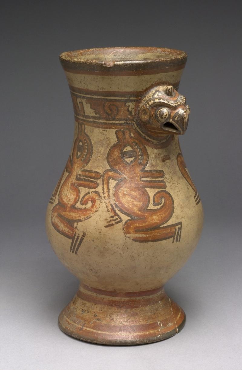 Pedestal Jar with Bird and Crocodile Imagery
