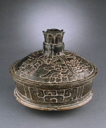 Lidded Vessel with Waterlily Handle