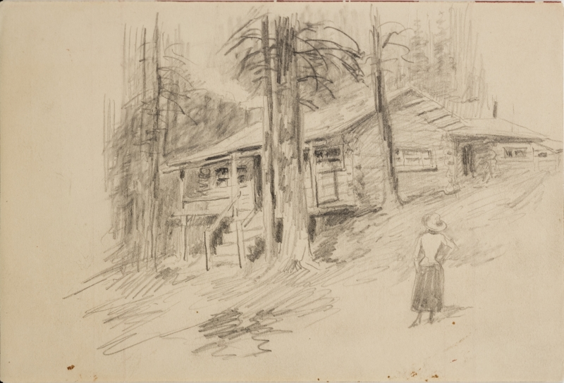Untitled (Charles Russell's cabin at Lake McDonald, Montana)