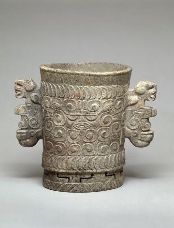Carved Marble Vase with Feline Handles