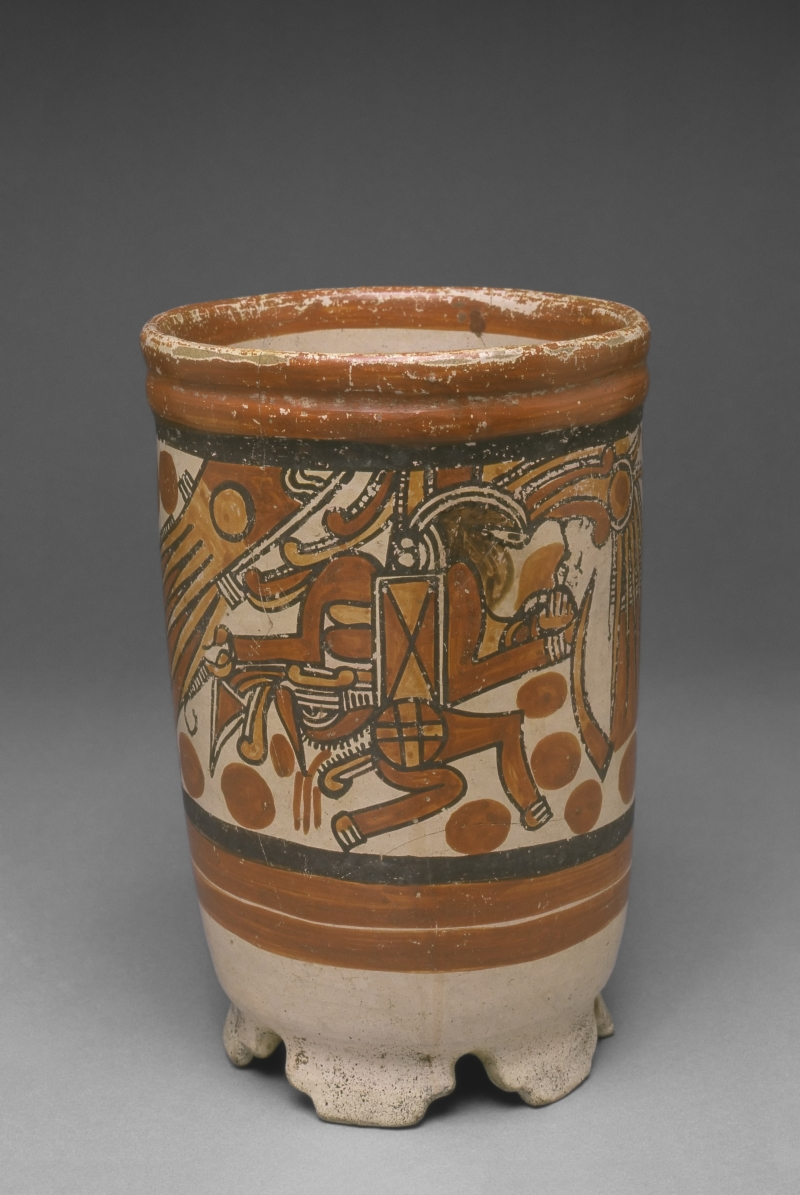 Cylinder Vase with Tabular Supports and Human Imagery