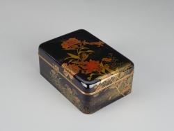 Accessory Box (Tebako) with Tiger Lillies, Pinks, and Cricket