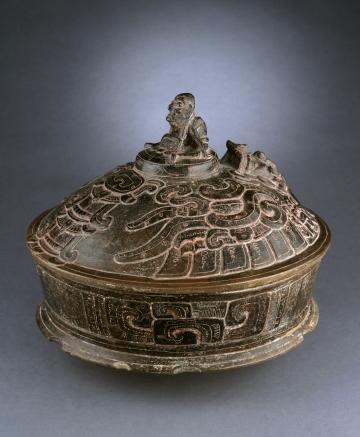 Lidded Vessel with Deity Riding on Mythical Bird