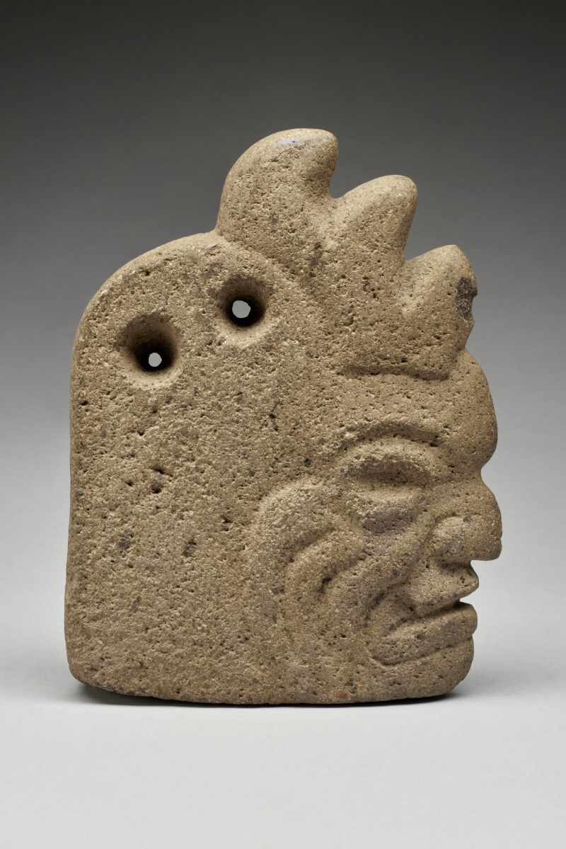 Hacha in the Form of a Wrinkled Human Face with Deer Antlers