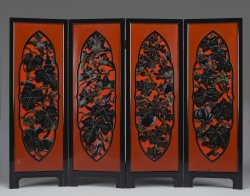 Folding Screen (Byobu) with Vines and Vegetables