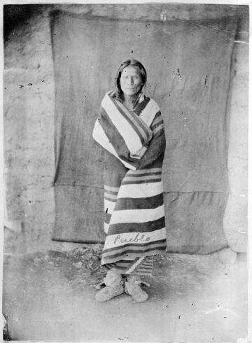 Pueblo Man with Blanket, Taos Pueblo