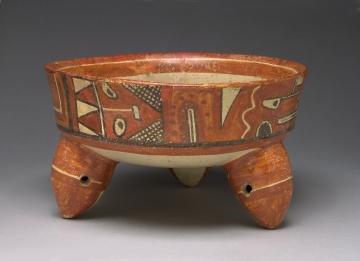 Tripod Bowl with Stylized Human and Animal Imagery