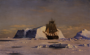 Whalers Working through the Ice on the Coast of Greenland under the Midnight Sun