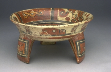 Tripod Bowl with Painted Designs