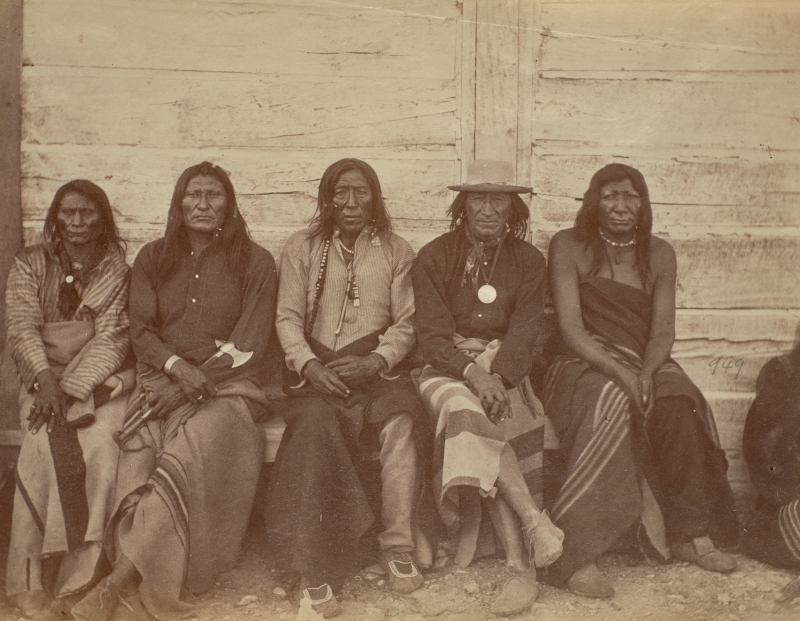 Crow Chiefs at Fort Parker [Poor Elk, Sits in the Middle of the Land (Blackfoot), Long Ears, He Shows His Face, and Old Onion]