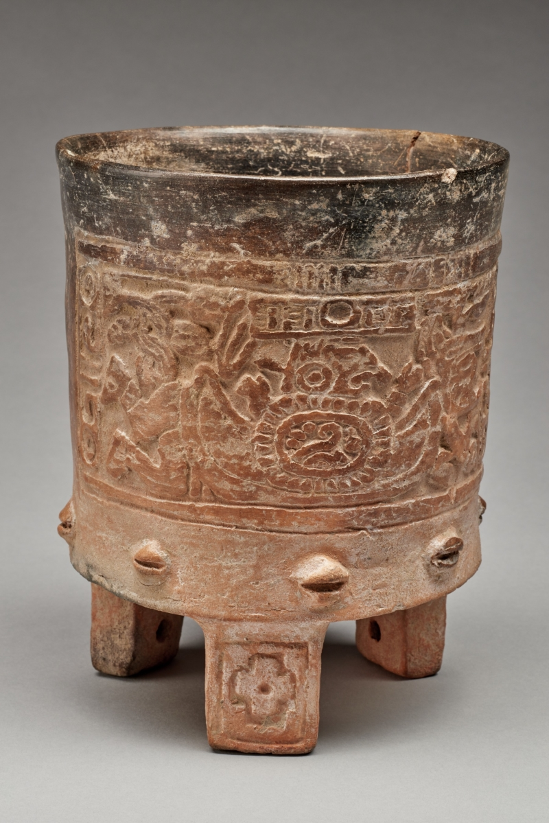 Mold-Impressed Tripod Vessel with Turtle Earth and Emergence Scene