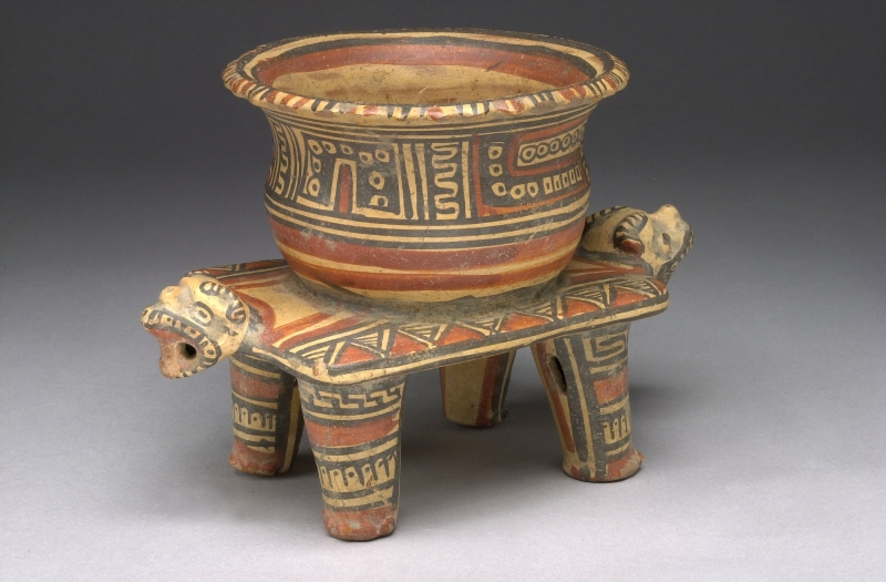 Bowl atop a Four-legged Bench with Two Feline Heads