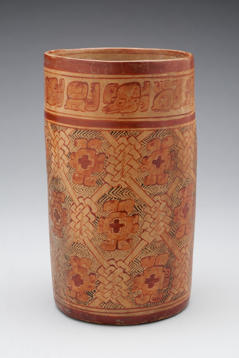 Vase with Textile and Flower Design