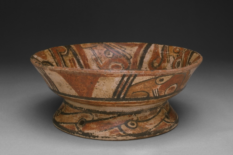Pedestal Bowl with Painted Designs