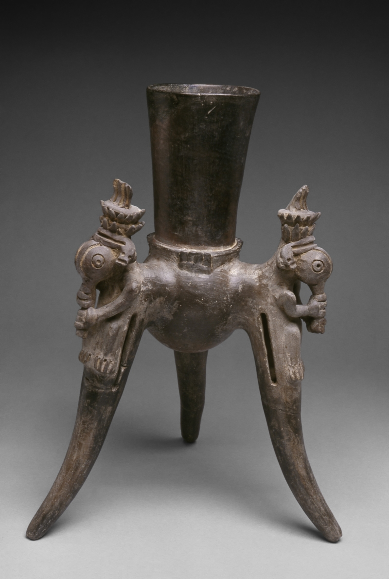 Tripod Jar with Modeled Long-Snouted Creatures
