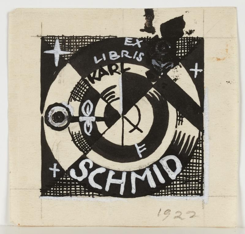 ex libris, Karl Schmidt bookplate (original graphic design)