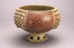 Pedestal Bowl with Painted and Applique Panels